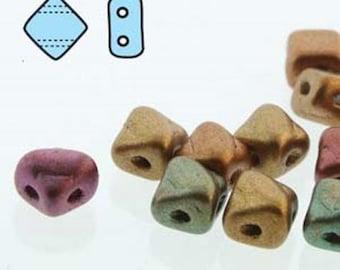 5mm Silky Violet Rainbow, 2 hole 5mm Czech Glass, 40 beads, 205-00030-01640