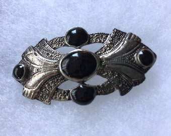 Antique mourning brooch, silver metal and onyx.  Late 1890's.