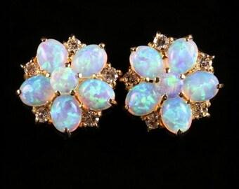 Opal Diamond Cluster Gold Earrings