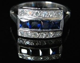Art Deco Sapphire Diamond 18ct Ring French Cut Sapphires