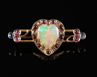 Antique Victorian Opal Ruby Diamond Sapphire Brooch 18ct Gold