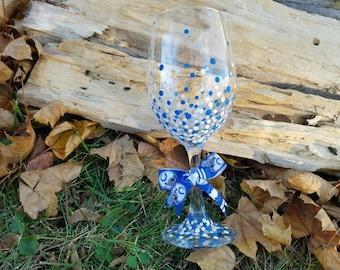Indianapolis Colts inspired confetti wine glass, Indianapolis Colts inspired polka dot wine glass, Colts wine glass, Colts barware
