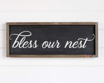 "Bless Our Nest Wood Sign, Farmhouse Decor, Rustic Home Decor, Housewarming Gift, 9.5""H x 25""W"