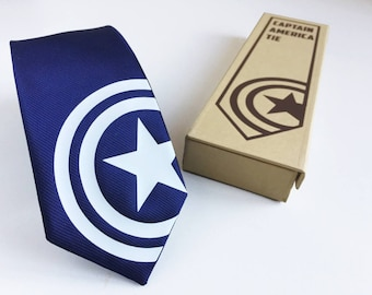 Captain America Silk Tie. Slim Tie. Civil War. Avengers. Wedding Tie, Christmas Gift, Fathers Day Gift. Birthday Gift. FREE UK Shipping!