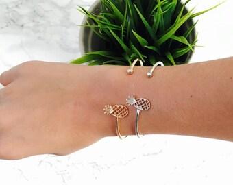 Silver Pineapple Cuff Bracelet, Pineapple Cuff Bracelet, Tropical Bracelet, Stacking Pineapple Bracelet