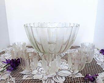 Vintage Jeanette Glass Dewdrop Clear Glass Punch Bowl -Pedestal Base -7 Cups