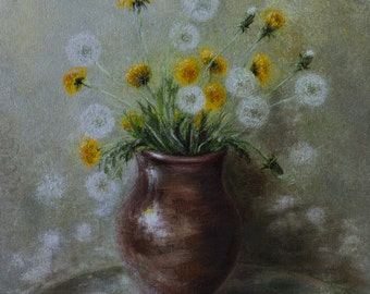 Original Oil Painting Impessionistic Floral, still life fine art on Canvas Ready To Fly Away