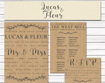 Industrial Kraft Brown Wedding Invitations
