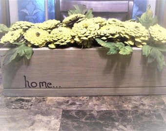 Primitive Rustic HM Box  Stained  and Antiqued Painted Pinecones ZINNAS Floral Centerpiece,