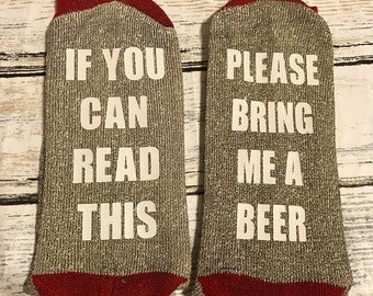 If you can read this socks -ready to ship- beer socks - funny socks - Christmas - Your Own Saying - Adult Socks - RED