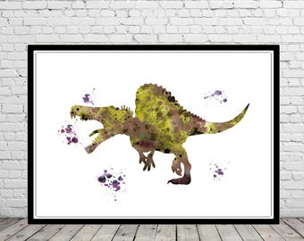 Spinosaurus, Dinosaur, Spinosaurus print, animal art, dinosaur print, dinosaur art, Watercolor print, Kids Room Decor,Poster, print(2789b)
