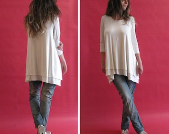 White/ivory loose two layers top, 3/4 sleeve top,Layer tunic top, Loose top, Casual top, Maxi tunic