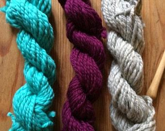 PURPLE MINT - 3 skeins true worsted hand spun yarn