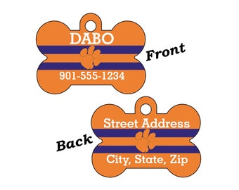 Clemson Tigers Double Sided Pet Id Tag for Dogs and Cats Personalized for your Pet