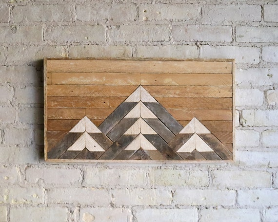 Reclaimed Wood Wall Art | Wood Decor  | Reclaimed Wood | Wood Art | Rustic Geometric| Wood Decor | Handmade | Mountain | Gradient | Natural
