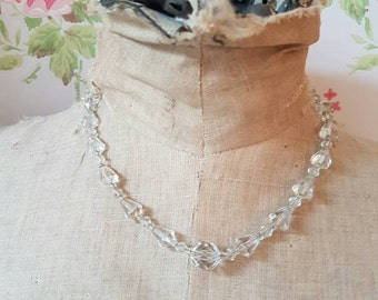 Vintage clear cut glass beads necklace 1920s