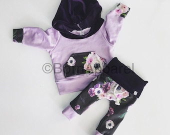 Baby girl outfit / baby clothing / newborn gift / floral baby outfit / baby girl clothes / baby / baby shower gift / floral clothes / purple