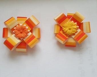 Orange multicolor flower bow hair clip