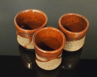 Red tea cups - Japanese style yunomi tea cups in dark stoneware