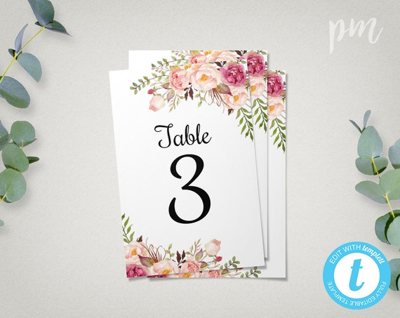 floral wedding table numbers template 4x6 printable table. Black Bedroom Furniture Sets. Home Design Ideas