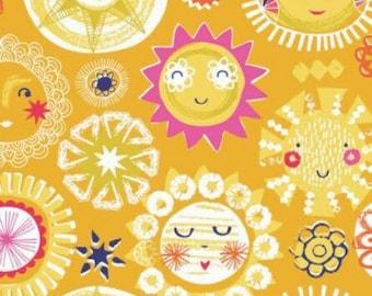 Dashwood Studios Sun Fabric, Rain or Shine, Yellow Fabric, 100% Cotton, UK sales only