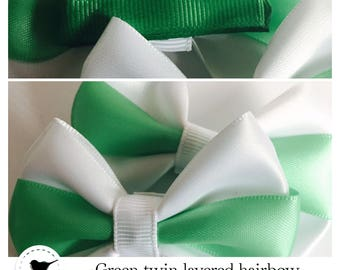 Green twin layered hair bows