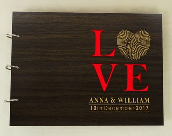 Wooden Rustic Wedding Guest Book, Wedding Sign In Book, Personalized Wedding Guestbook, Custom Wedding Guest Book, Bridal Shower Gift PGB48