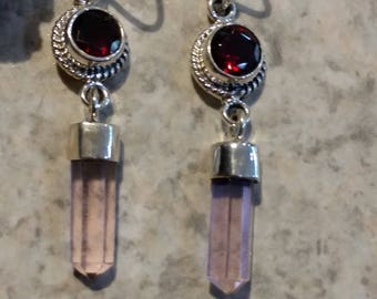 Natural Pink Kunzite and Garnet Earrings