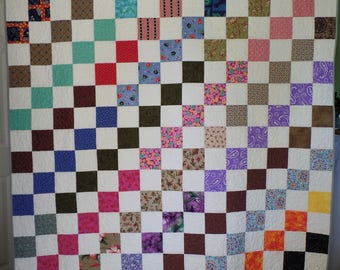Traditional Quilt, Patchwork Quilt, Twin Size Quilt, Upcycle Quilt, Handmade Quilt, Vintage Fabric Quilt