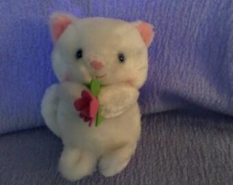 """Kristie Cat plush Russ White holding Pink felt flower Blue eyes 5"""" New Vintage 80's Kitty Lovers name"""