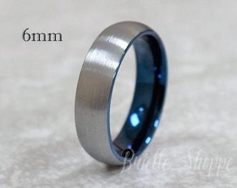 Tungsten Ring, Men's Tungsten Wedding Band, Men's Black Wedding Band, Blue Tungsten Ring, Tungsten Band, Personalized Ring, Blue Tungsten
