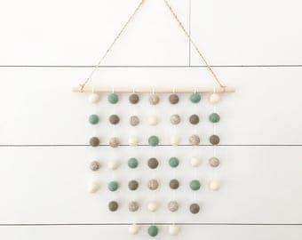 Wildwood Wall Hanging - Beach Glass - Felt Ball Garland - Hanging Wall Decor - Nursery Decor -  Nursery Wall Decor - Nursery Wall Art