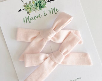 Blush Pink Pigtail Bows / Girls Hair Bows / Alligator Clip / No Slip Grip / Macie and Me / Pigtail Bows / Hand Tied