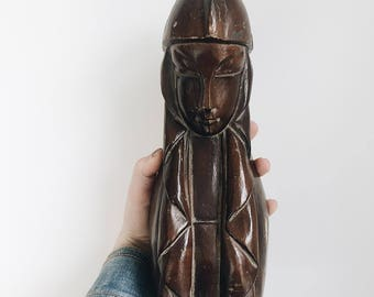 Mid Century Carved Lady Statue / Carved Wood Woman Sculpture