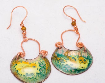 Enamel Tribal Dangles, Yellow & Green Earrings, Shield Earring Drops, Copper Enameled Earrings, Floating Glass Earrings, Gifts for Her