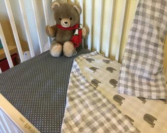 Crib sheet, fitted crib sheet, flannel crib sheet, grey crib sheet