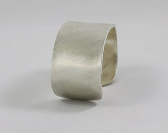 Brushed Texture Cuff Sterling Silver Bracelet