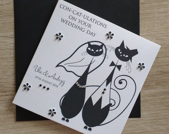 Personalised Cat Wedding Card