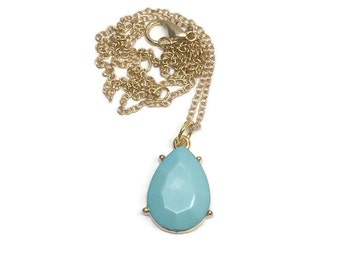 Aqua Blue Pendant Neckalce - Light Blue Necklace - Aqua Blue Bridal Party Necklace - Gold Jewelry Set - Gift for Her
