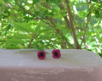 Small Purple Rose Stud Earrings