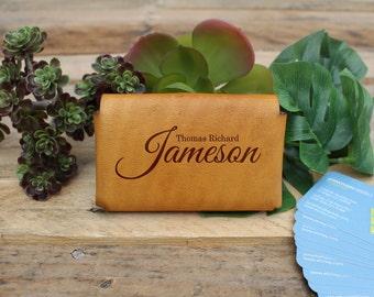 Genuine Leather Business Card Holder, Personalized Business Card Holder, Engraved Card Holder --GLBCH-WHEAT-Thomas Richard Jameson