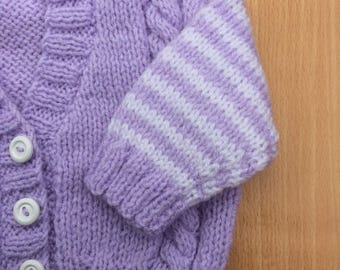 Baby cardigan, baby sweater, hand knitted baby cardigan, hand knitted baby sweater, lilac purple coloured baby cardigan, 0-3 months