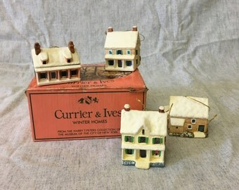 Vintage Currier and Ives Winter Homes Ornaments, Set of 4, Harry T Peters Collection, Museum of the city of New York