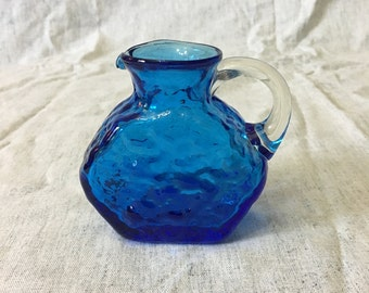 Vintage Hand Blown Blue Crinkle Glass Creamer with Applied Handle