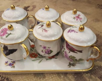 France Limoges Chocolate mousse cups with tray