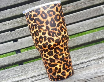 30oz Hydro Dipped Leopard Print Stainless Tumbler.... Ready to Ship!!!