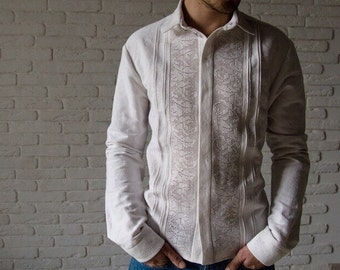 Men's embroidered shirt, slim fit shirt,