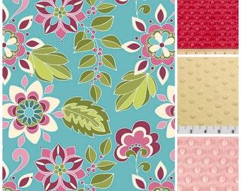 Floral minky blanket,Riley Blake Minky blanket,Toddler Girls Blanket,Teen Girl blanket,Floral throw,blue floral minky blanket