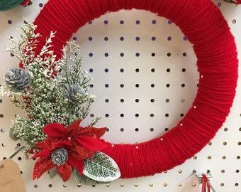 Yarn wreath, homemade yarn wreath, christmas wreath, holiday wreath