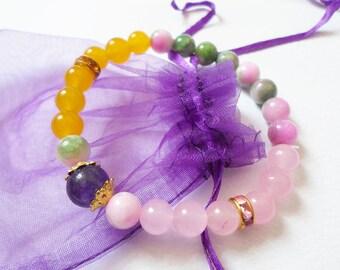 OOAK Gemstone Bracelet, 8 mm Beaded  bracelet, Birthday Gift, Rose Quartz Yoga Bracelet, Handmade Jewelry Bracelet, Stretch Boho Bracelet